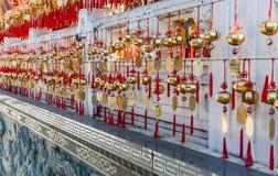 Campane dorate di preghiera del tempio di Wenwu Immagini Stock