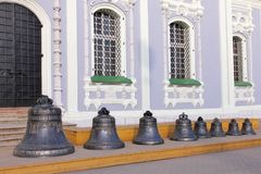 Campane ortodosse del tempio in Tula Kremlin Immagine Stock