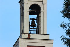 Campanechurch bell. On the background of blue sky visible church bell Stock Photo