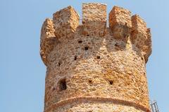 Campanella塔,在可西嘉岛的老热那亚人的堡垒 免版税库存照片