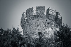 Campanella tower, old Genoese tower, Corsica. Campanella tower, old Genoese tower on Corsica island, France. Monochrome toned photo Stock Image