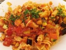 Campanelle makaron z warzywami Obrazy Stock