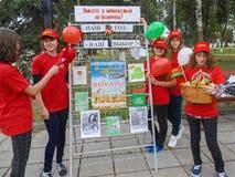 Campanha de pré-eleição da agitação na região de Gomel em Bielorrússia Imagens de Stock Royalty Free