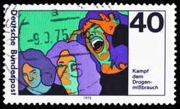 Campanha para lutar o abuso da droga e da bebida alco?lica, serie, cerca de 1975 foto de stock royalty free