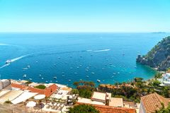 Campania province in Italy, Sorrento coast. Mediterranean house`s roofs and blue sea. Campania province in Italy, Sorrento coast royalty free stock photo