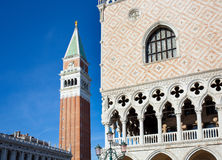 Campanile bell tower and architecture detail of Doges Palace Stock Images