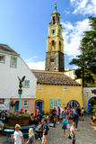 'The Campanile' bell tower rises above Portmeirion town square Royalty Free Stock Photo