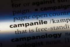 Campanile. Word in a dictionary.  concept Royalty Free Stock Photos
