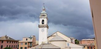 Church clock before a rainstorm stock photography