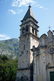 Campanile. Church of St. Matthew of Dobrota (Montenegro Stock Photo