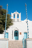 Campanile a cielo blu sull'isola di Mykonos Fotografia Stock