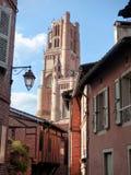 Campanile d'imposizione della citt? episcopale di Albi nel sud ad ovest della Francia fotografia stock libera da diritti