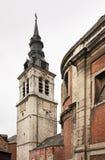 Campanile della cattedrale di St Aubin a Namur belgium fotografia stock