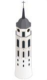 Campanile della cattedrale di Vilnius (torre di orologio), isometrico, isolata Fotografia Stock Libera da Diritti