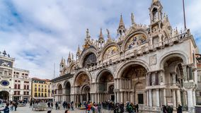 Campanile di圣Marco和Palazzo Ducale共和国总督` s宫殿Timelapse在威尼斯,意大利 圣Marco和圣的专栏 影视素材