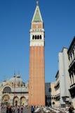 Campanile di圣Marco塔在威尼斯,意大利 库存照片