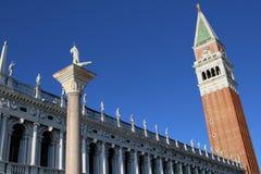 Campanile di圣Marco,威尼斯地标,意大利 免版税图库摄影
