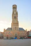 Campanile di Bruges, Belgio fotografia stock
