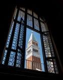Campanile Di San Marco, door Venster van Palazzo Ducale wordt gezien die Royalty-vrije Stock Fotografie