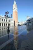 Campanile di St Mark a Venezia con l'alta marea Immagine Stock Libera da Diritti