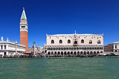Campanile and doge palace. On piazza San Marco. Italy. Europe royalty free stock photo