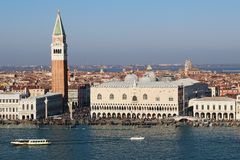 Campanile and doge palace on piazza San Marco, Venice, Italy Royalty Free Stock Images