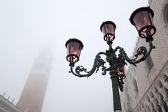 The Campanile and the Doge's Palace at fog Royalty Free Stock Image