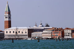 Campanile and Doge's palace on Saint Marco square, Venice, Italy Royalty Free Stock Image