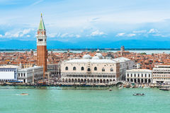Campanile and Doge's palace on Saint Marco square, Venice Stock Images
