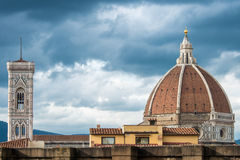 Campanile and Dome of the Basilica Santa Maria del Fiore in Flor. Giotto's Bell Tower and Brunelleschi's Dome of the Basilica Santa Maria del Fiore in Piazza del Royalty Free Stock Photos