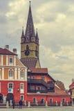 Campanile evangelico della chiesa, Sibiu, Romania Immagini Stock Libere da Diritti