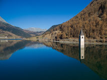 Campanile of lake resia. Aerial photografie campanile of lake resia Royalty Free Stock Photos