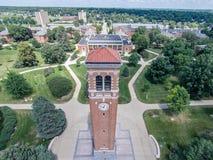 Campanile op de campus van Noordelijk Iowa Royalty-vrije Stock Foto