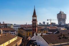 Campanile in san Gottardo in Corte, Milano, Italia immagine stock libera da diritti