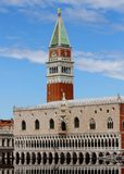 Campanile of St. Mark and the Doge's Palace in Venice in Italy Stock Photo