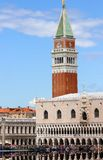 Campanile of St. Mark and the Doge's Palace in Venice in Italy Royalty Free Stock Images