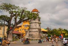 Campanile storico fatto della città di Dumaguete - di Coral Stones, Negros Orientale, Filippine Fotografie Stock Libere da Diritti