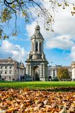 The Campanile of Trinity College with fall color