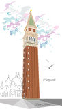 Campanile. Vector illustration background with colorful  tower of Campanile in Venice Stock Photo