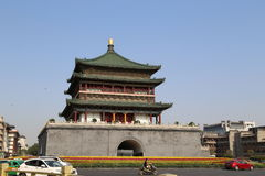Campanile. Xi,an`s bell tower, located in center of Xian city, built in Min Dynasty 1384 year, 36 meters high, is the largest and well kept bell tower from Stock Photos