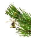 Campanula del oro (en), ornamentos del árbol de navidad Imágenes de archivo libres de regalías