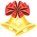 Campanulas from gild and bow. Red small bow and two golden campanulas on white background vector illustration