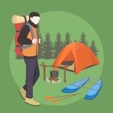 Campareman med ryggsäcken i skog vektor illustrationer