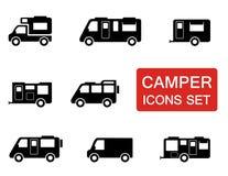 Camparesymbolsuppsättning Fotografering för Bildbyråer