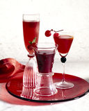 Campari ,cherry and redcurrant cocktails. Food , drinks, beverages,cookery Stock Photos