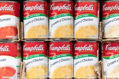 Campbell`s soup cans for sale in a supermarket. Sacramento, CA, USA; Cream of chicken`s Campbell`s soup cans for sale in a supermarket shelf stock photo