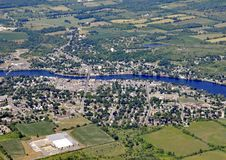 Campbellford Ontario, aerial. Aerial view of the town of Campbellford along the Trent river, Ontario Canada Royalty Free Stock Photography