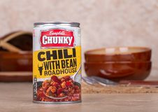 Campbells Chunky Chili With Bean Roadhouse. DECEMBER 13, 2018: Closeup of a can of Campbells Chunky Chili With Bean Roadhouse soup on a kitchen counter stock photography