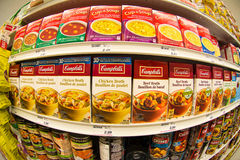 Campbells Soup in a Store Shelf Royalty Free Stock Photo