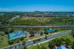 Campbelltown και βιβλιοθήκη HJ Daley στη Νότια Νέα Ουαλία στοκ εικόνες